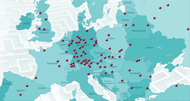 Übersicht der Referenzen in ganz Europa